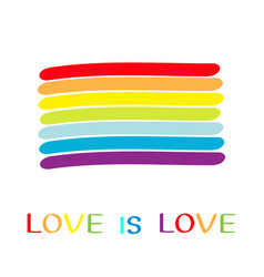rainbow flag love is love text quote lgbt gay vector image