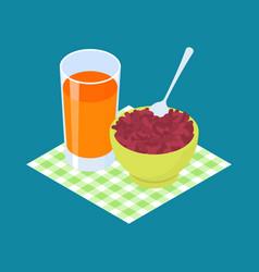 red bean porridge and fruit juice breakfast vector image