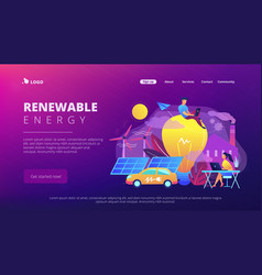 Renewable energy landing page vector
