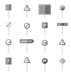 Road signs icons set monochrome style vector