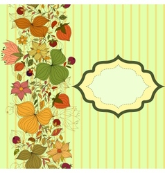 seamless doodle border flowers and berries vector image