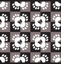 seamless pattern with animal paw prints vector image