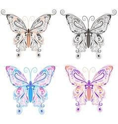 Set butterflies ornamental style vector image