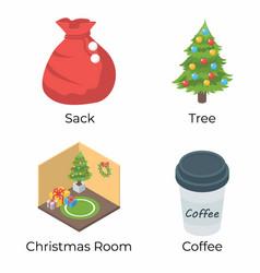 Set christmas isometric icons vector