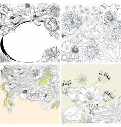 Set of floral background vector