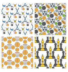 Sport icons seamless pattern background in flat vector