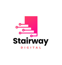 Stairway digital tech up stair logo icon vector