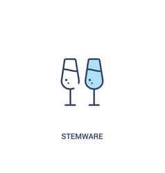 Stemware concept 2 colored icon simple line vector