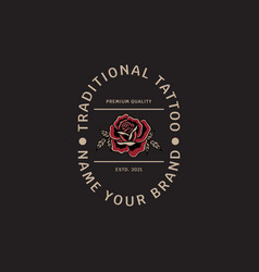 traditional tattoo roses vintage logo template vector image