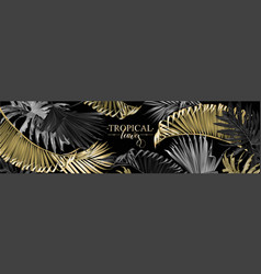 tropical gold and black leaves web banner vector image