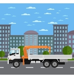 Truck mounted crane on road in city vector image