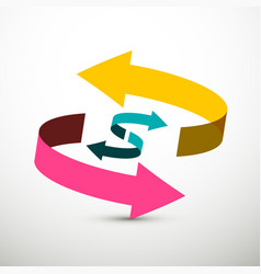up and down arrows - pink yellow and blue 3d vector image