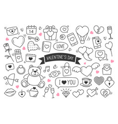 valentines day hand drawn doodles objects and vector image