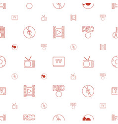 Video icons pattern seamless white background vector
