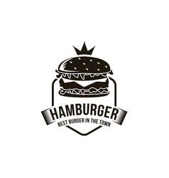 vintage retro hipster hamburger burger logo vector image