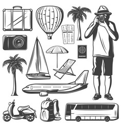 vintage vacation and travel elements set vector image
