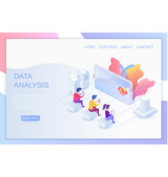 web analytics isometric landing page vector image