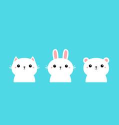 White polar bear rabbit bunny cat kitty kitten vector