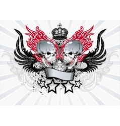 Winged skull emblem vector