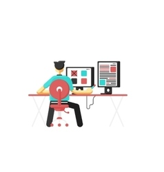 Workplace concept man sitting at the desktop vector
