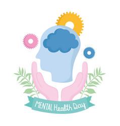 world mental health day hands human head brain vector image