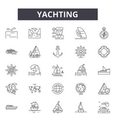 Yachting line icons for web and mobile design vector