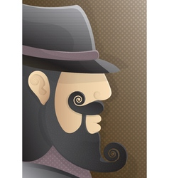 a man with a curly beard and black hat vector image vector image
