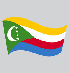 flag of comoros waving on gray background vector image