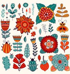 floral card design leaf doodle element vector image