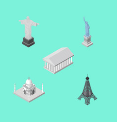 isometric cities set of athens paris india vector image