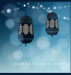 ornamental arabic lanterns with string of lights vector image vector image