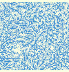 seamless floral blue doodle pattern with swirls vector image vector image