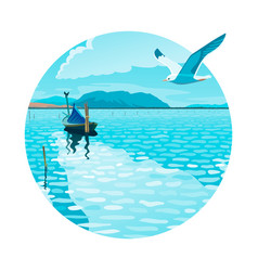 seascape with a boat and a seagull vector image