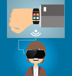 smart watches are connected to the virtual vector image
