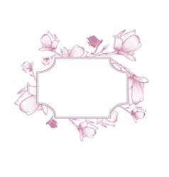 Spring Magnolia Blossom Flower Frame vector image vector image