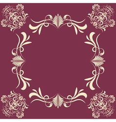 Vintage background with damask frame vector image