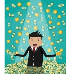 businessman raising from huge money bills pile vector image
