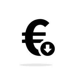 Euro exchange rate down icon on white background vector image vector image