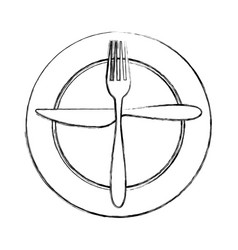 Fork and knife with dish cutlery vector