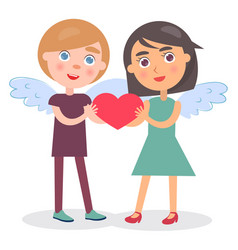 happy couple hold heart in hands boy girl wings vector image vector image