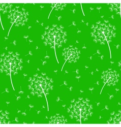 Green seamless pattern with white dandelions vector image vector image