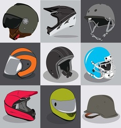 Helmet Collection vector image vector image