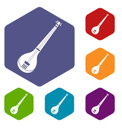 indian guitar icons set hexagon vector image vector image