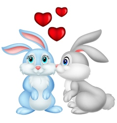 Two cute cartoon bunnies in love vector image