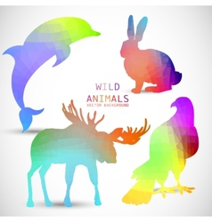 Geometric silhouettes of animals dolphin rabbit vector image vector image