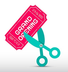 Retro Grand Opening with Scissors and Pink T vector image vector image