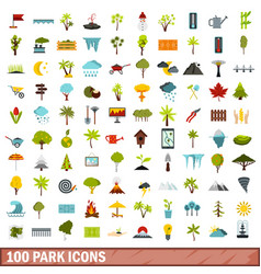 100 park icons set flat style vector