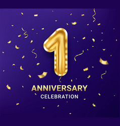 1st year anniversary celebration design template vector image