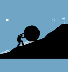 A strong man pushing a big rock up hill to vector