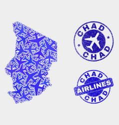 Air plane mosaic chad map and grunge stamps vector